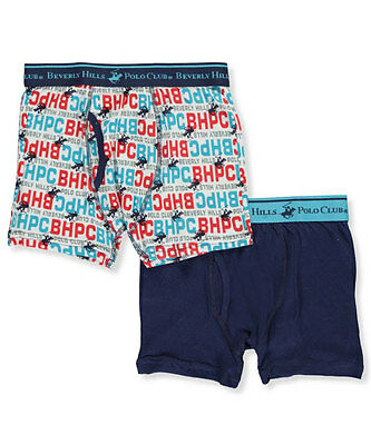 Beverly Hills Polo Club Big Boys' 2-Pack Boxer Briefs (Sizes 8 - 18)