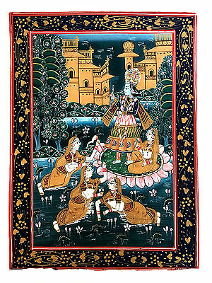 KRISHNA Shrinathji Love Puchvai Devotional Painting On Fabric Hand Painted Gopi