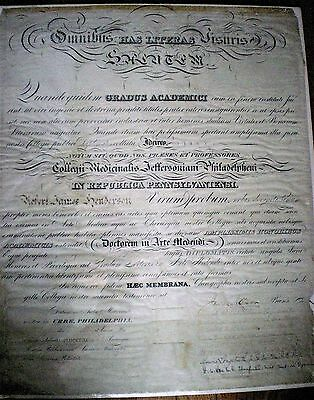 1892 Medical School Diploma ~ Jefferson Medical College Of Philadelphia ~ Rare