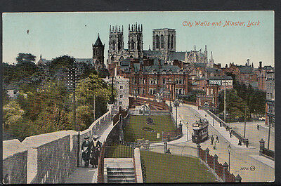 Yorkshire Postcard - City Walls and Minster, York  RS3414