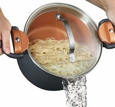 Gotham Steel Non-Stick Pasta Pot with Glass Lid and Built in Strainer - NEW!