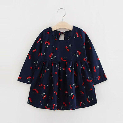 Toddler Baby Girls Kids Long Sleeve Dresses Party Pageant Dress 5/6T