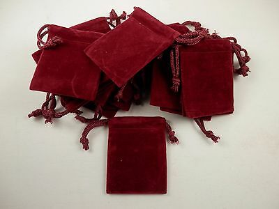 Lot of 17 Burgundy Velour 2x2 Drawstring Jewelry Gift Bag Pouch