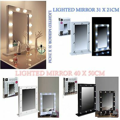 Led Lighted Mirror Dressing Room Bulb Light Up Makeup Table Hollywood Mirror