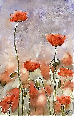"°♡Original Aquarell, Watercolor,Flowers,Wildblumen""Klatschmohn♡Poppies"