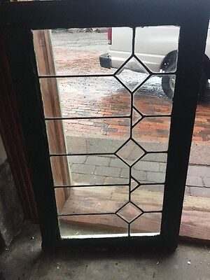 Sg 1486 Antique Leaded And Beveled Transom Window 21 X 34.25