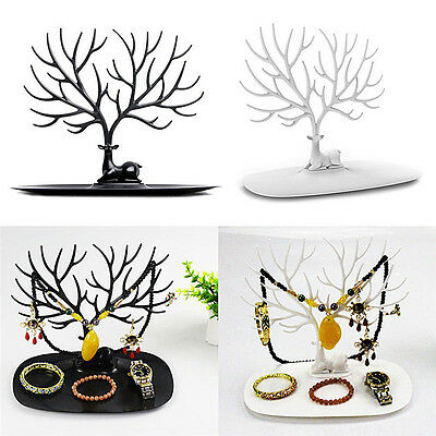 Jewelry Deer Tree Stand Display Organizer Necklace Ring Earring Holder Show zp