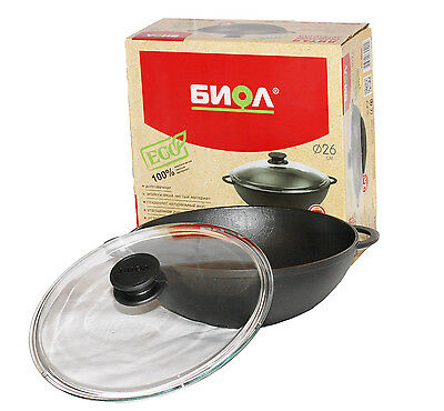 Cast Iron WOK Pan For Healthy Cooking 28 cm With Lid Induction BIOL