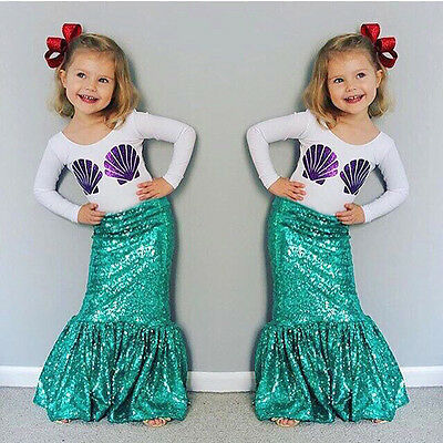 Todller Girls Shell Shirt Tops+Maxi Mermaid Skirt Dress Outfits Clothes Set 6T