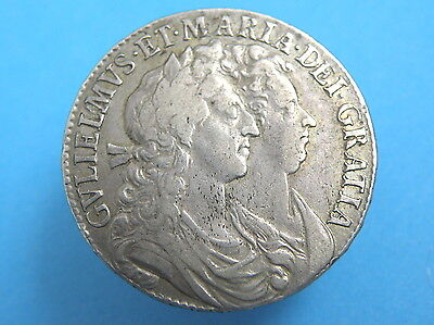 1689 William and Mary - SILVER HALFCROWN COIN - SCARCE 'L over M' - Good Grade