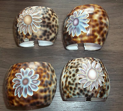 Set of Four Vintage Cowrie Shells Napkin Rings Carved Flower