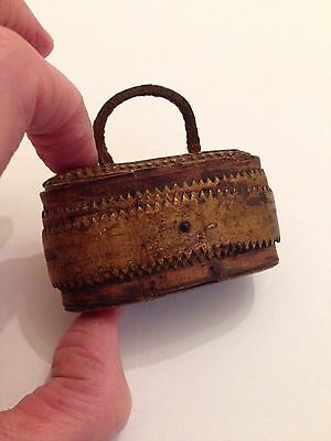 Quaint Miniature Antique Victorian Birch Box Basket - Snuff / Dolls