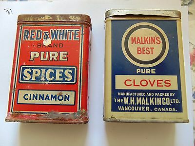 Malkin Brand Cloves And Red And White Foods Cinnamon Tin Rare Empty