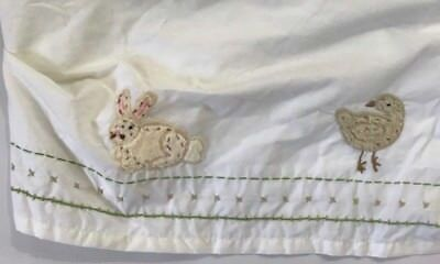 Pottery Barn Kids Crib Toddler bed skirt Bunny Farm Animals Nursery white
