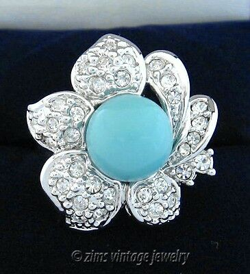 LD signed Silver plate TURQUOISE blue Crystal FLOWER Cocktail RING size 7 new