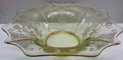 Large Cambridge Glass Topaz Console Flared Bowl, 3400 Apple Blossom Pattern