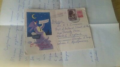 1960 russian envelope cover and letter