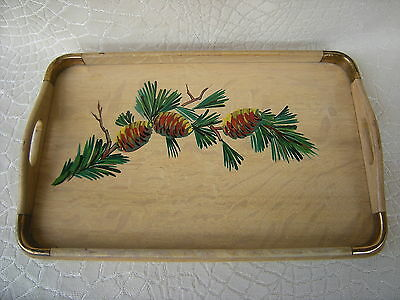 Antique Oak Serving Tray Handpainted Pine Boughs and Pine Cones