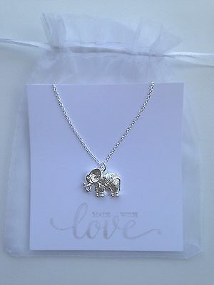 Silver Elephant Pendant Necklace - 925 Sterling Silver Plated