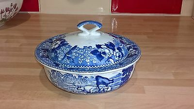 Antique 19Thc Adams Ironstone Pottery Cattle Scenery Blue White Soap Dish