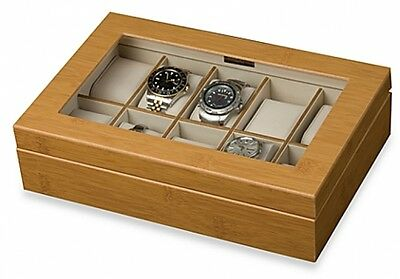 Mele and Co. Logan Glass Top Watch Box in Bamboo Finish