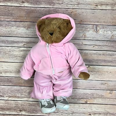 Vermont Teddy Bear Big 16 inch Plush w/Pink Hoodie Track Suit sneakers
