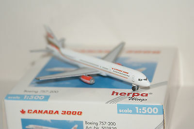 Herpa Wings B757-200 airliner model, Canada 3000, 1/500