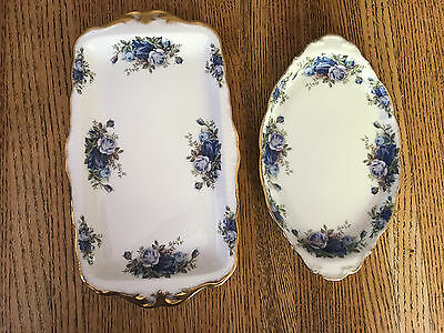 Lot 2 Royal Albert Moonlight Rose Platters/trays - England
