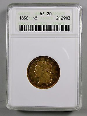 1836 Classic Head $5 Gold Coin Anacs Graded Vf 20 Old School Slab