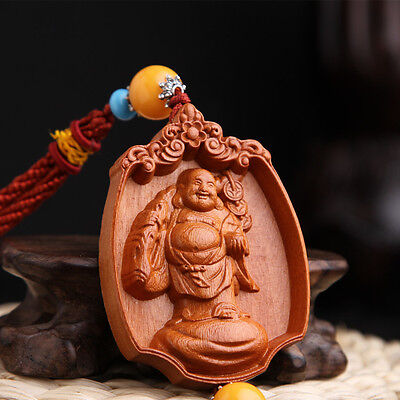 Chinese Ancient Happy Maitreya Buddha Budai Wood Carving Amber Bead Car Pendant