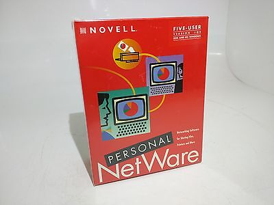 New (In Box) Novell Personal NetWare 5 User 3.5 and 5.25 inch Floppy