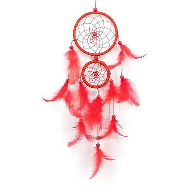 Red Double Ring Dream Catcher with Feather Wall Hanging Home Decor Ornament Gift
