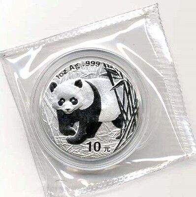 2001 China Silver Panda 1-oz GEM BU Coin - Nice!
