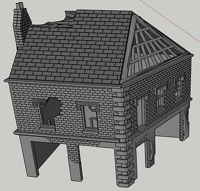 20mm Wargaming Terrain scenery Town Centre Angled Shop Ruin