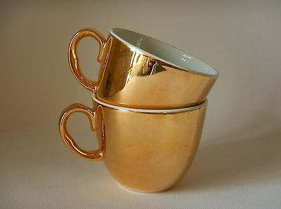 ROYAL WORCESTER GOLD LUSTRE CUPS - RIM IS 70mm ACROSS