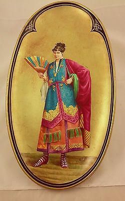Hand painted & Signed Plaque of Lady with Fan - HB Choisy le Roi, France