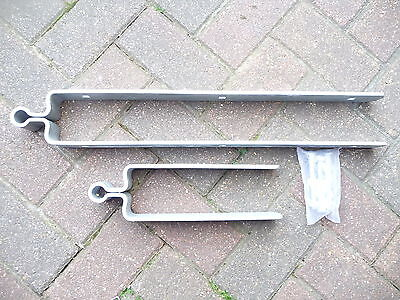"Galvanised field gate top and bottom hinges. 22"" long and 10"" long."