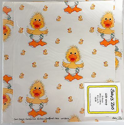 1 Sheet Suzy's Zoo Duckling Baby Shower Gift Wrap Vintage Wrapping Paper