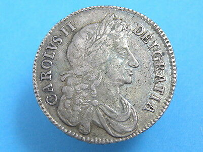 1676 King Charles II - SILVER HALFCROWN COIN - SCARCE VARIETY - High Value