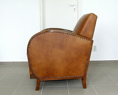 Art Deco Leather Armchair, Club Chair. Genuine 1920s Antique Walnut Vintage Deco