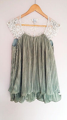 New Women Ladies Summer Sleeveless Lace Detailed Pleated Top Blouse Size 12