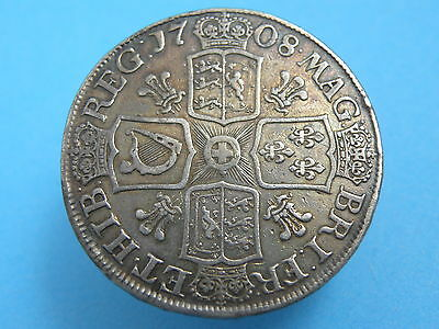 1708 QUEEN ANNE - SILVER CROWN COIN with PLUMES - SEPTIMO - SCARCE - High Value