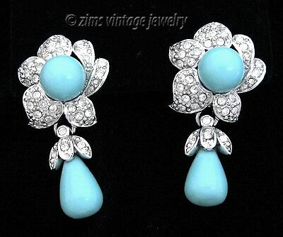 LD signed TURQUOISE Blue drop Crystal FLOWER Silver dangle EARRINGS omega post