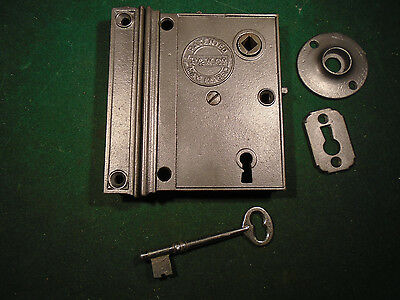 1868 PARKER & WHIPPLE RIM LOCK w/KEY & KEEPER: CLEAN RECONDITIONED (8244)