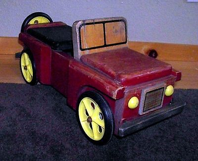 """Vintage Montgomery Schoolhouse Wood Ride On Car Jeep  24"""" Long Red & Black"""