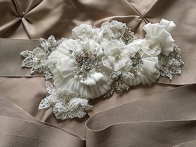 Mori Lee Bridal Belt Taupe Floral Crystals Pearls