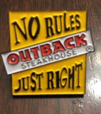 Outback Steakhouse No Rules Just Right Pin Employee Collectors Hat Lapel Pin