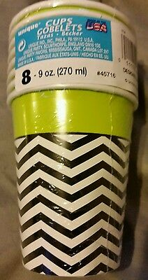 2 packs Black White Chevron Stripe Lime trim Paper Party Cups 9 ounce 16 cups