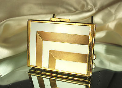1940s HELENA RUBINSTEIN Powder Compact~Puff & Sifter~ART DECO Design~EXCELLENT!!