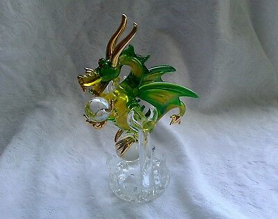 Dragon Green Gold Clear Figurine of Blown Glass Crystal with stand 6 1/4""